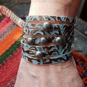 Jewelry - Sliced 'n Studded Tooled Leather Bracelet